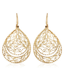 Orientale gold-plated fretwork earrings
