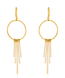 Voilage gold-plated shower earrings