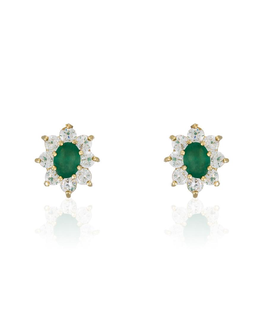 Marguerite emerald & gold-plate earrings Sale - or eclat