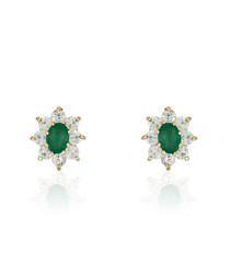 Marguerite emerald & gold-plate earrings