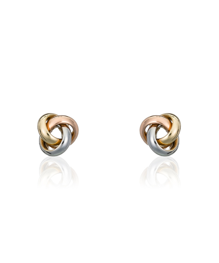 Noeud gold-plated tri-knot earrings Sale - or eclat