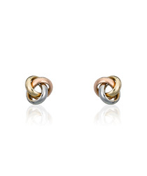 Noeud gold-plated tri-knot earrings