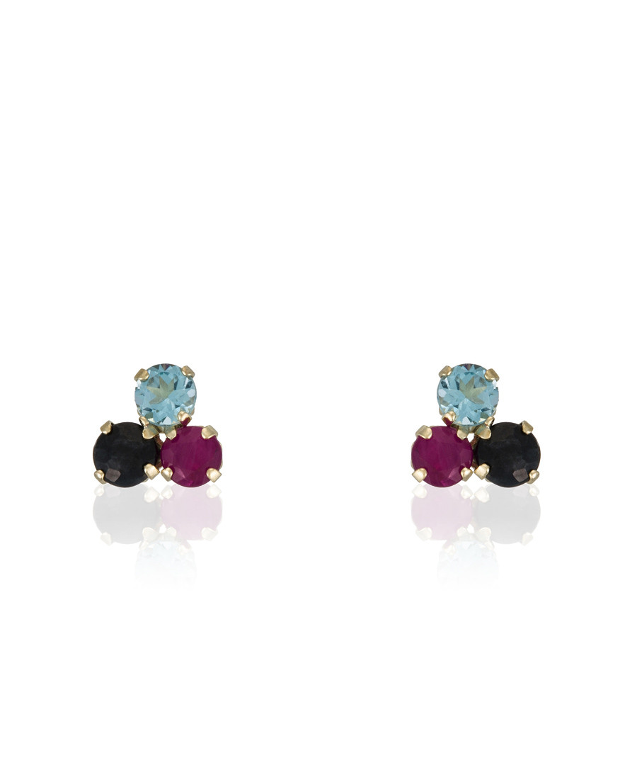 Stone Trio & gold-plate earrings Sale - or eclat