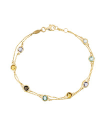 Stone mix gold-plated chain bracelet