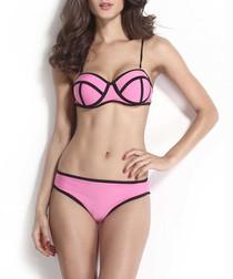 2pc pink & black contrast bikini