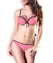 2pc pink frill bikini