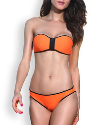 2pc orange & black bandeau bikini