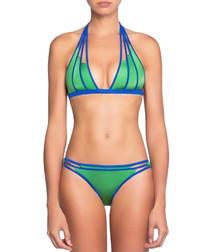 2pc jade and blue halterneck bikini