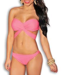 2pc pink bandeau wrap bikini