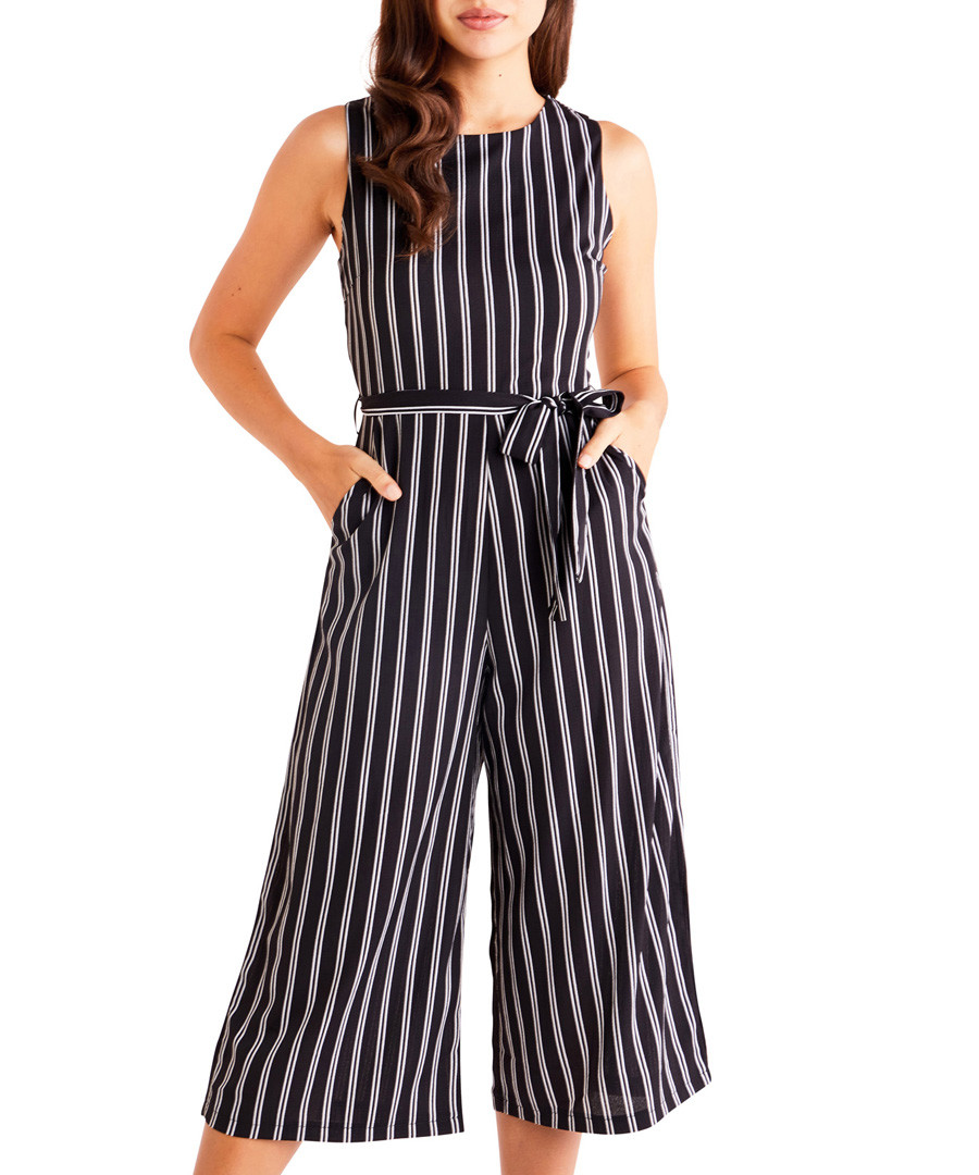 black stripe wide-leg jumpsuit Sale - iska