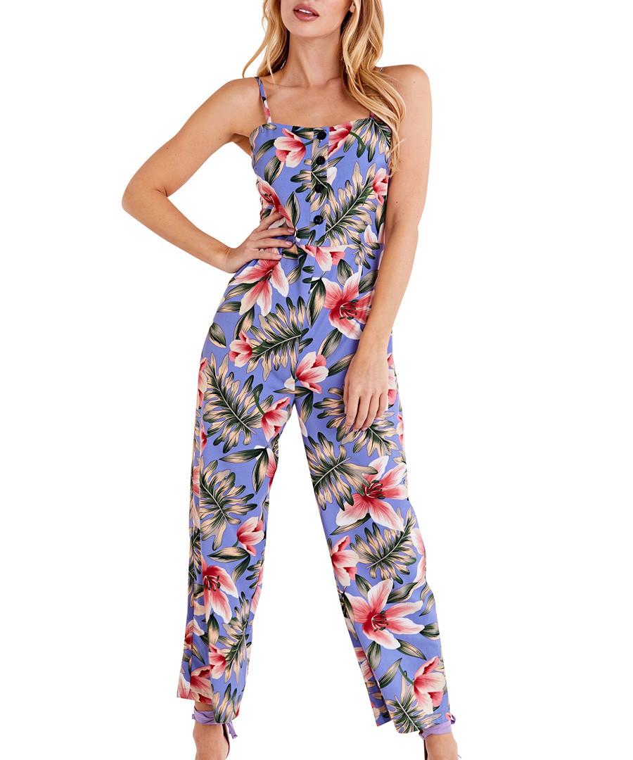 blue floral button down jumpsuit Sale - iska