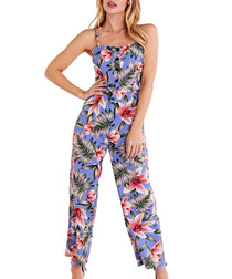 blue floral button down jumpsuit