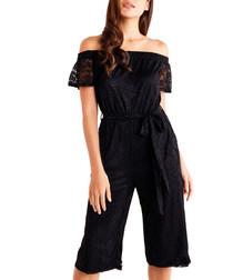 black lace bardot jumpsuit