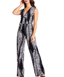 black & white V-neck wide-leg jumpsuit