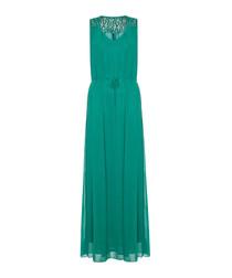 teal lace detail maxi dress