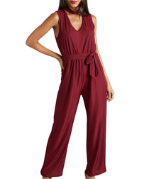 burgundy choker neck jumpsuit