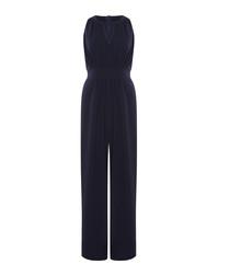 navy sleeveless keyhole jumpsuit