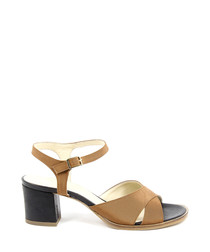 Black & tan leather heeled sandals