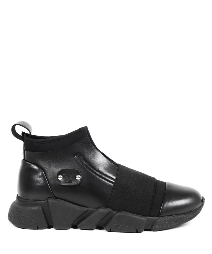 Black leather & tech sneakers Sale - v italia by versace 1969 abbigliamento sportivo srl milano italia
