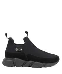 Black suede & tech sneakers