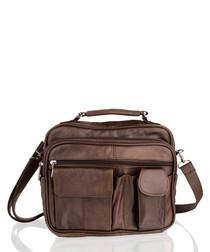 Brown leather multi-pocket messenger
