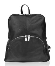 Black leather zip-up backpack