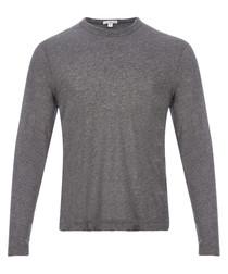 Coal melange cotton blend sweatshirt