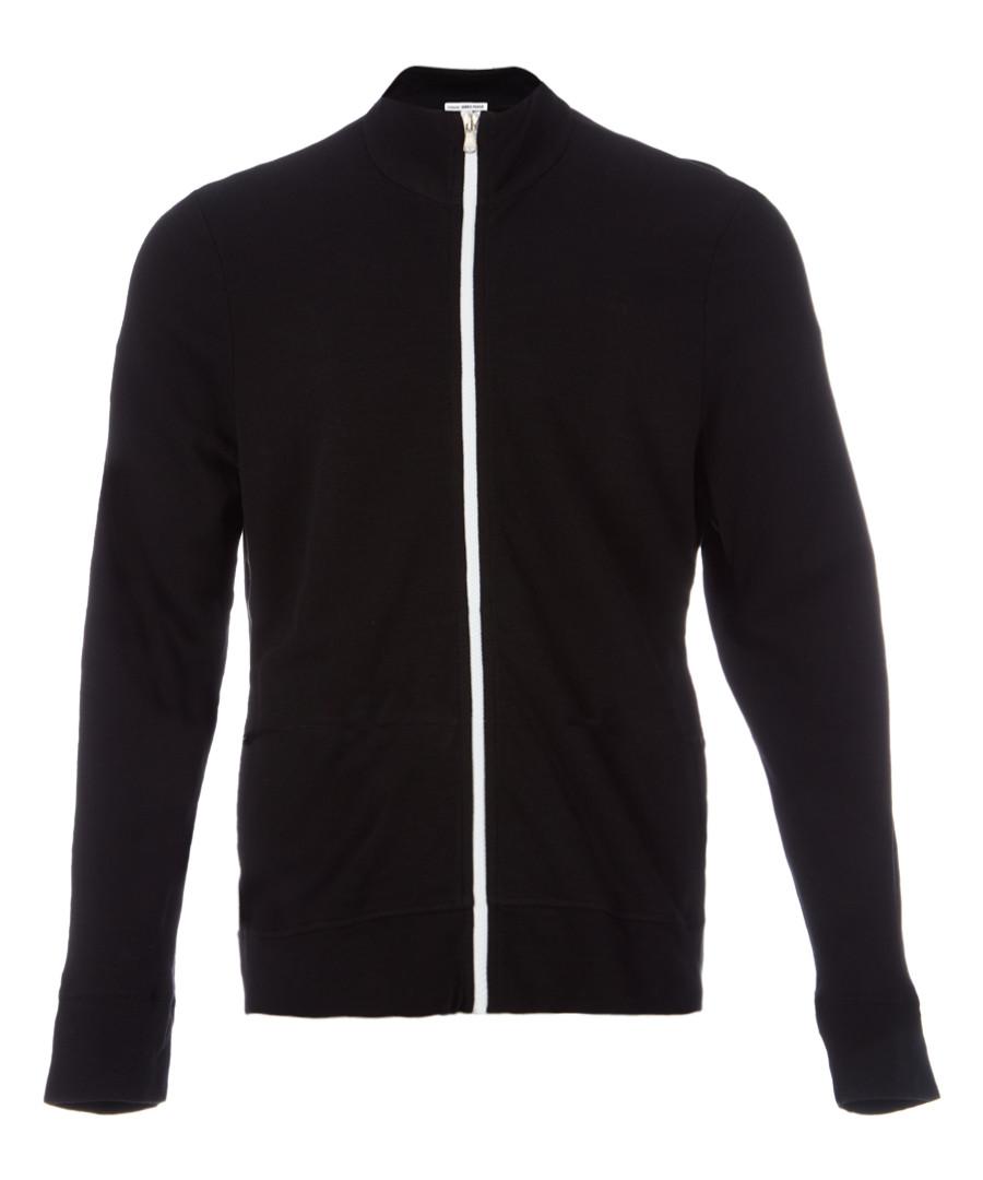 Black pure cotton zip-up sweatshirt Sale - James Perse