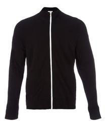 Black pure cotton zip-up sweatshirt
