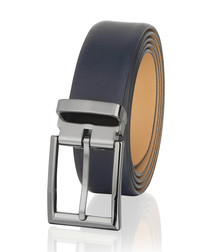 Navy leather classic belt