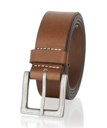 Brown leather stitch detail belt