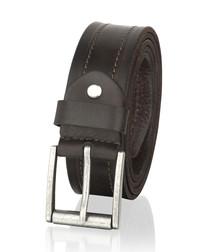 Walnut leather stitch belt