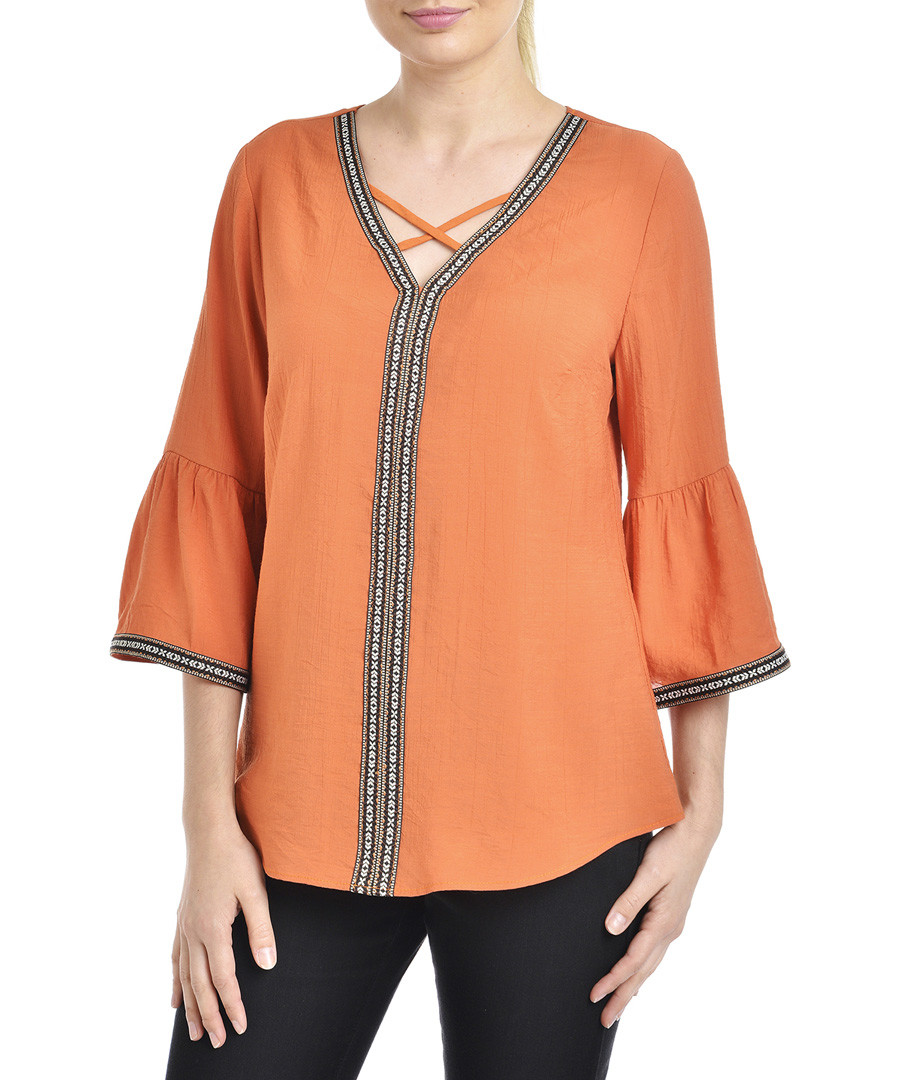 peach bell sleeve V-neck blouse Sale - new york collective