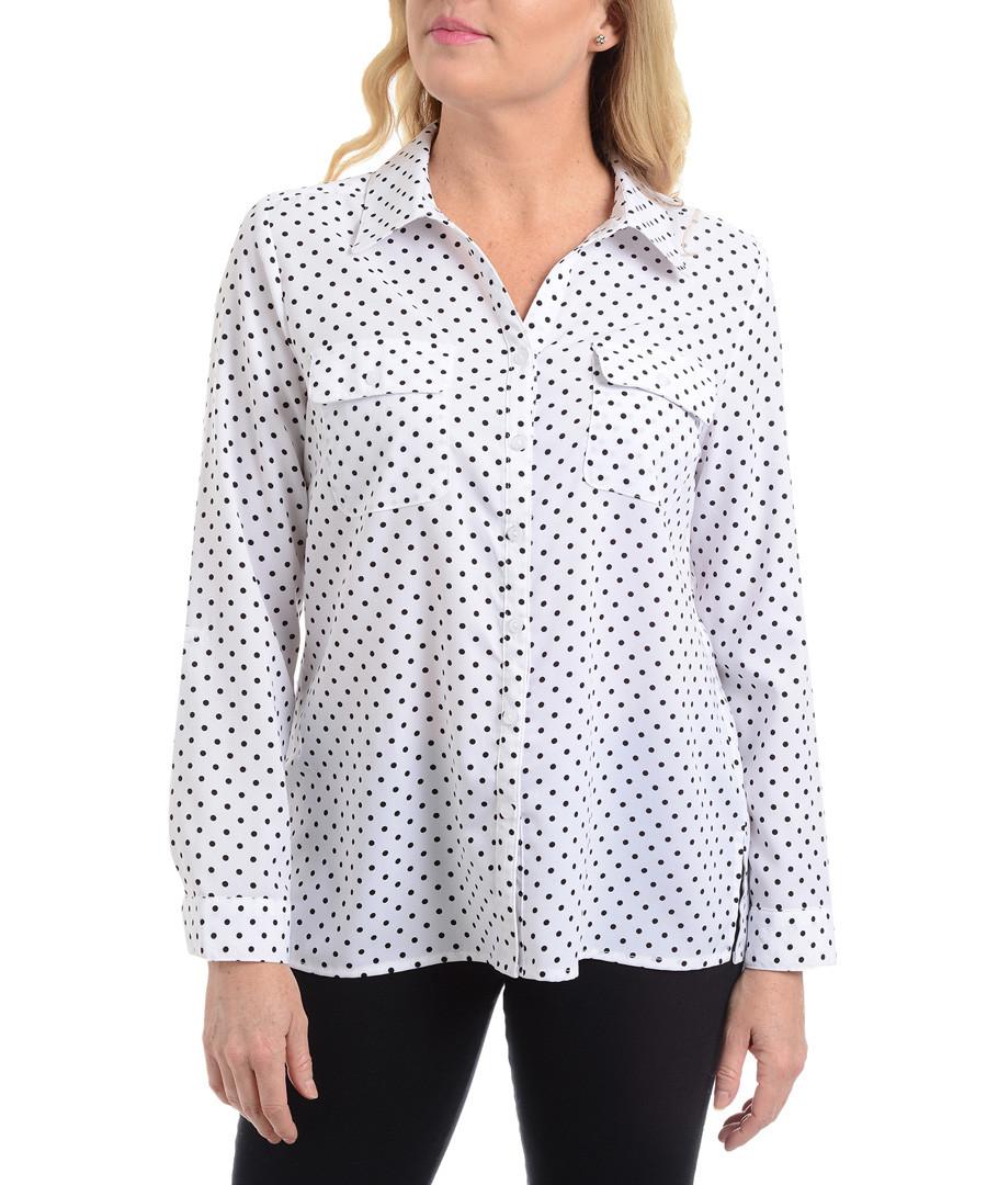 white & black polka blouse Sale - new york collective