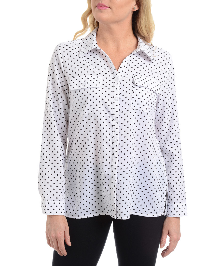 white & black polka blouse Sale - new york collective