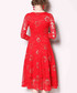 red lace floral long sleeve dress Sale - Kaimilan Sale