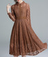 brown lace wave collar dress Sale - kaimilan Sale