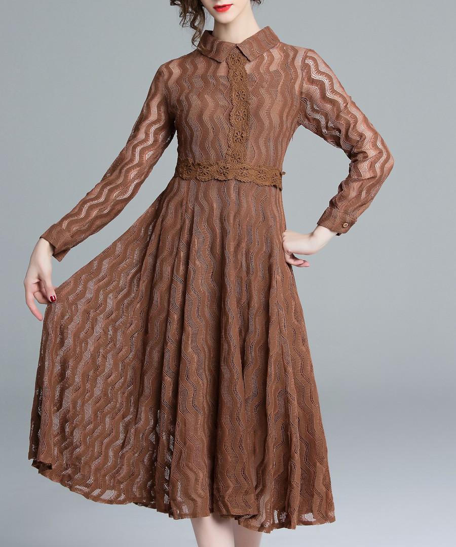 brown lace wave collar dress Sale - kaimilan