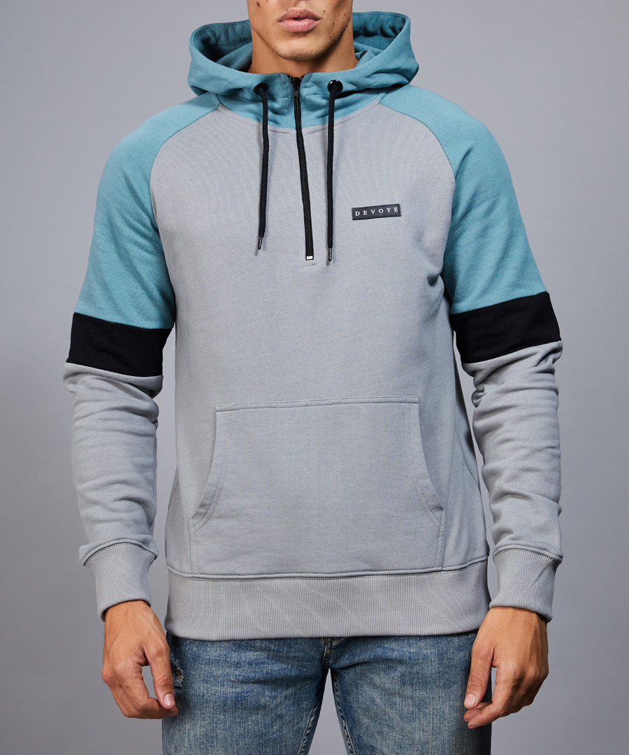 Drew grey & teal hoodie Sale - devote
