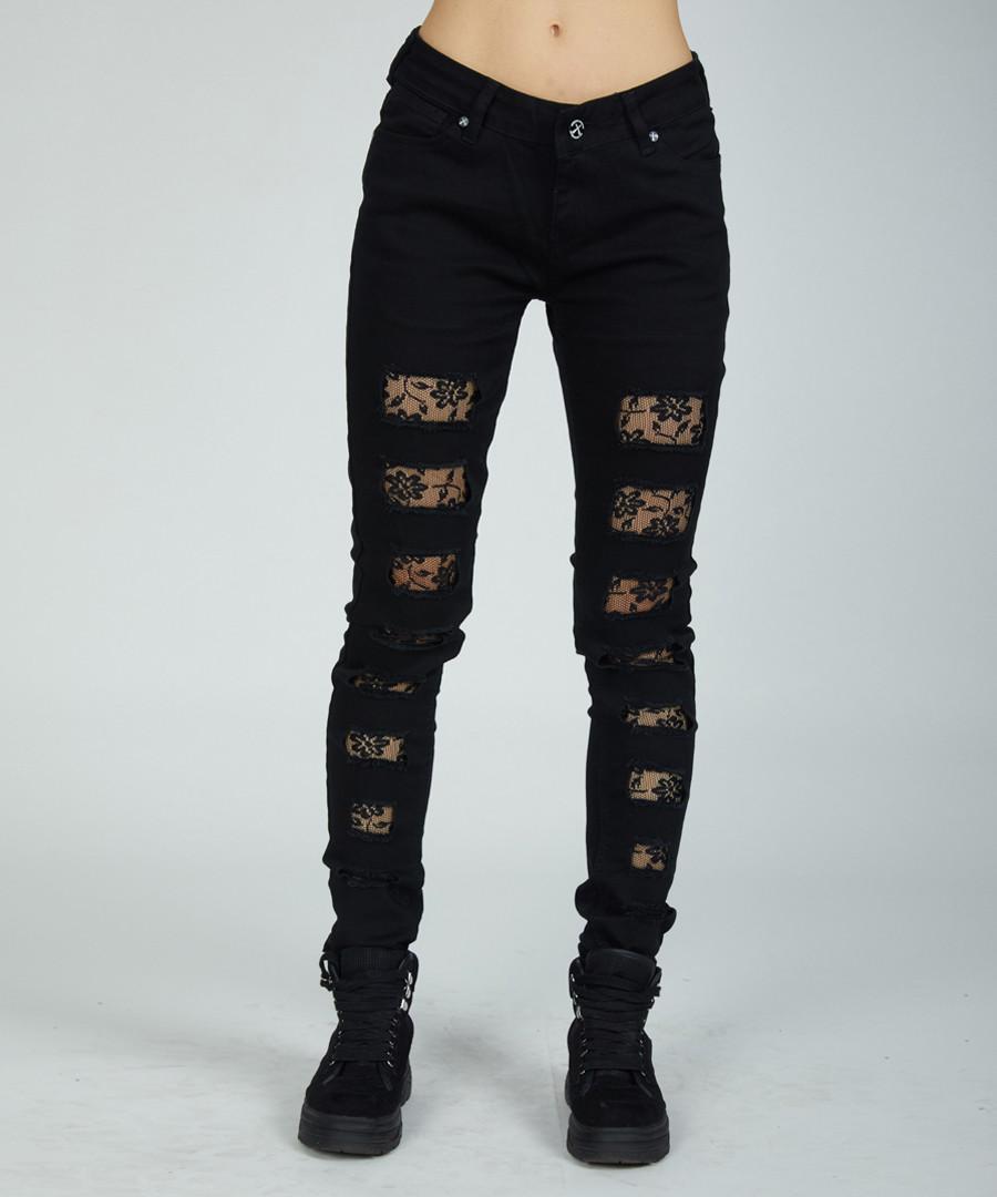 black cotton lace patch skinny jeans Sale - criminal damage