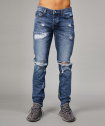 Carter mid-blue cotton ripped jeans