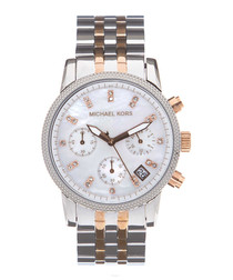 stainless steel chrono link watch
