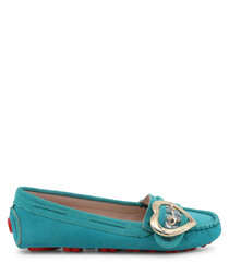 teal faux-leather heart boat shoes