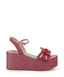 berry pink fabric platform sandals