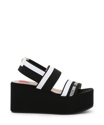 Mono fabric stripe platform sandals