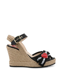 black heart cutaway wedge sandals