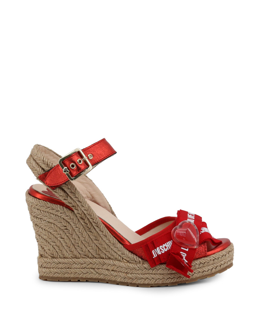 red heart cutaway wedge sandals Sale - love moschino