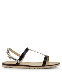 black fabric & leather strap sandals