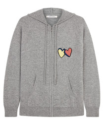 twin heart grey pure cashmere hoodie