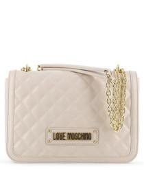 pale pink faux-leather shoulder bag